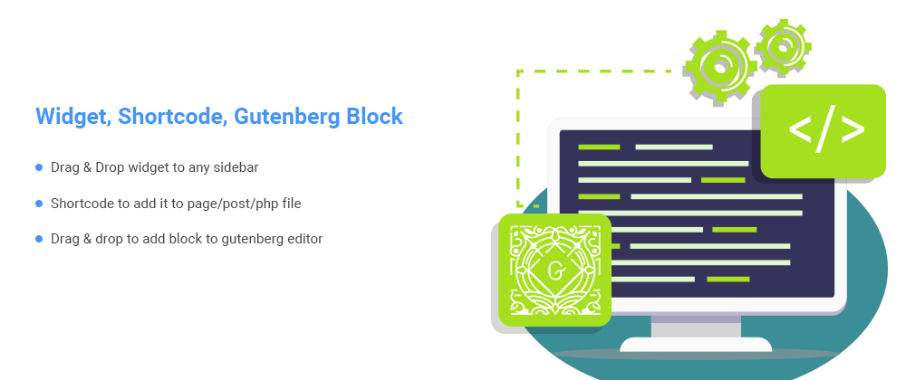 Widget, shortcode, gutenberg block